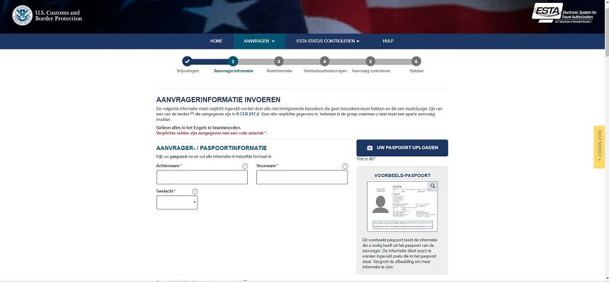 persoonlijke informatie visum USA